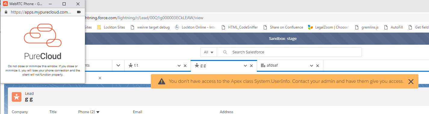 Purecloud for Salesforce - you don't have access to the Apex