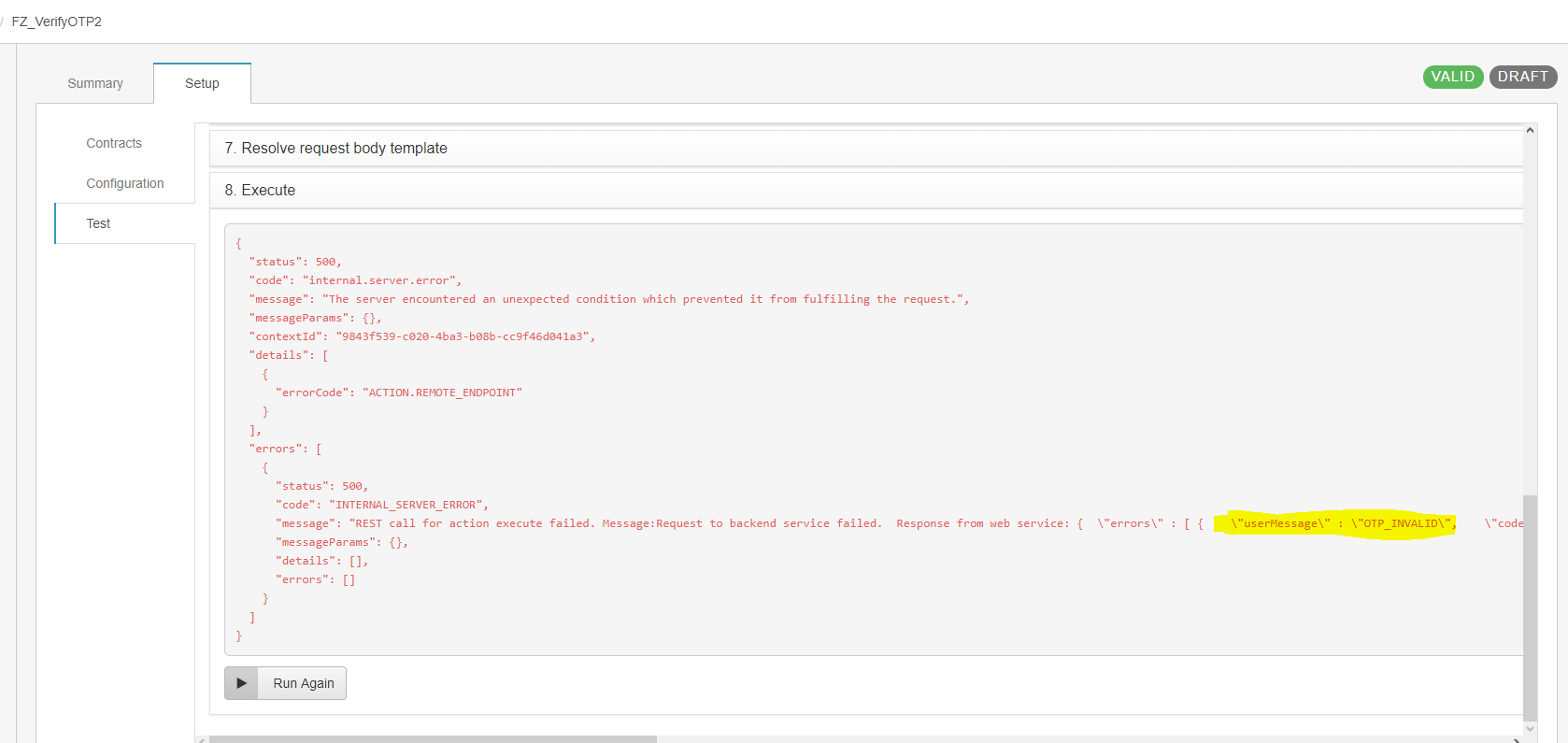 Postman and PureCloud UI Test have different error response